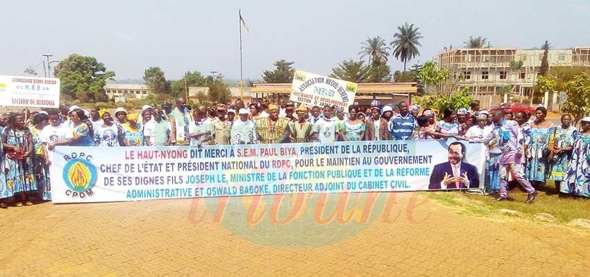 Gouvernement du 4 janvier : le Haut-Nyong remercie Paul Biya