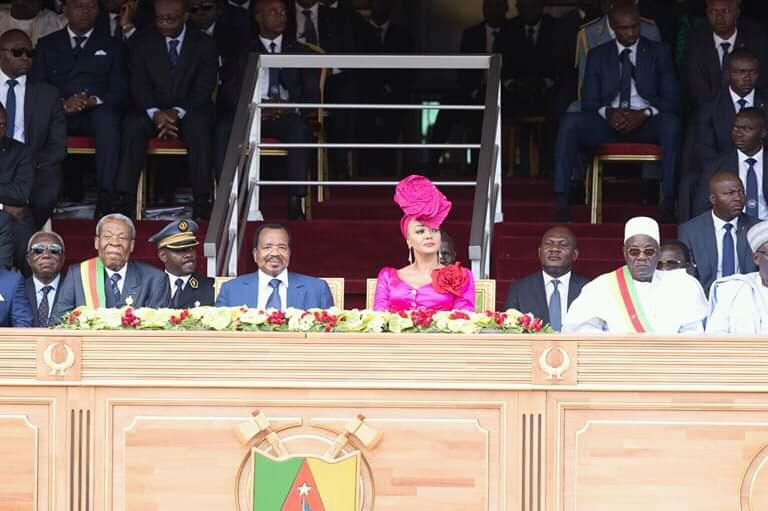 President Paul Biya and wife at 2019 May 20 Celebration