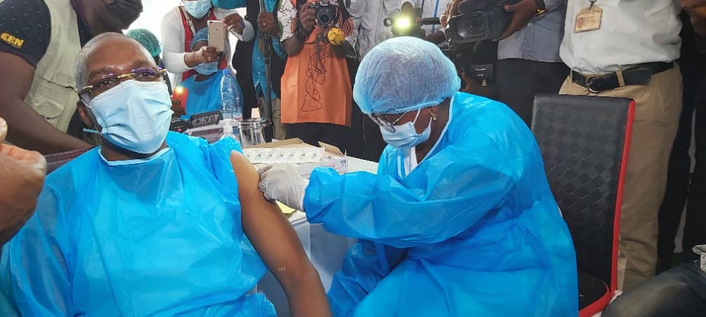 Cameroon's Public Health Minister, Malachie Manaouda, rolls out Coronavirus vaccination campaign by publicly receiving the Chinese-made and donated jab.
