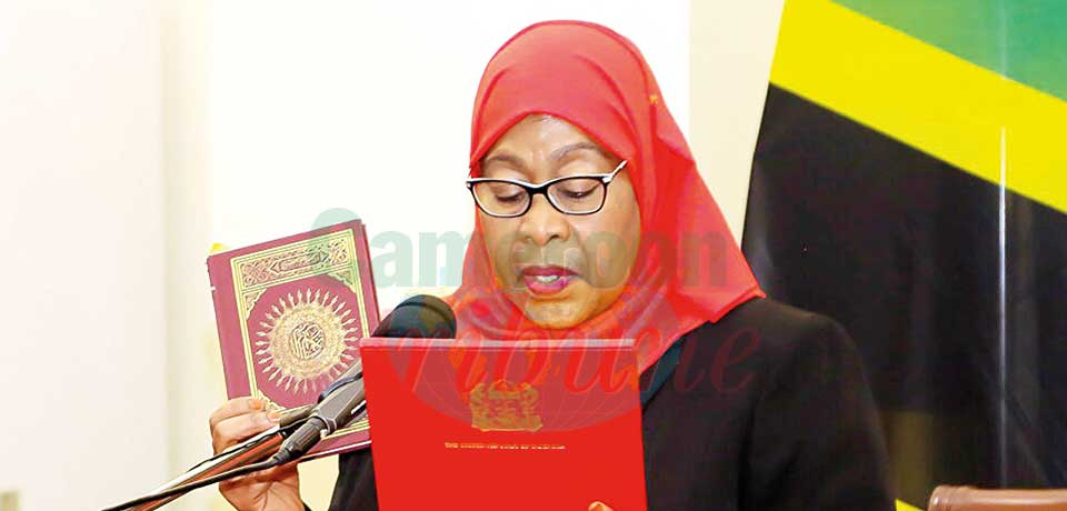 President Samia Sululu while taken oath on Friday.