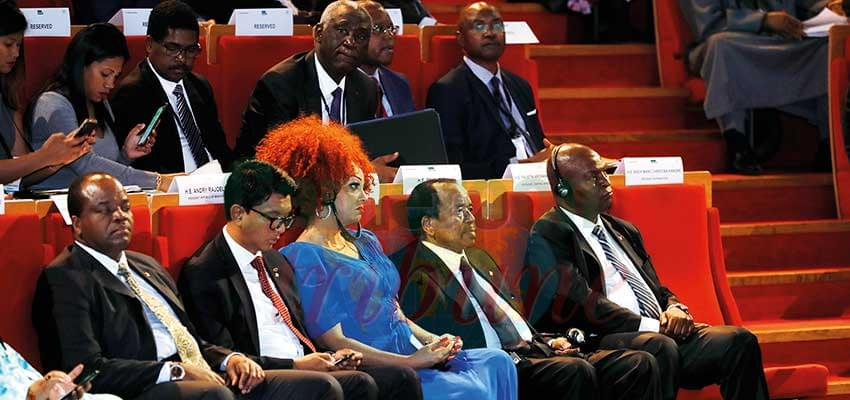 President Biya and wife at the Lyon Conference.