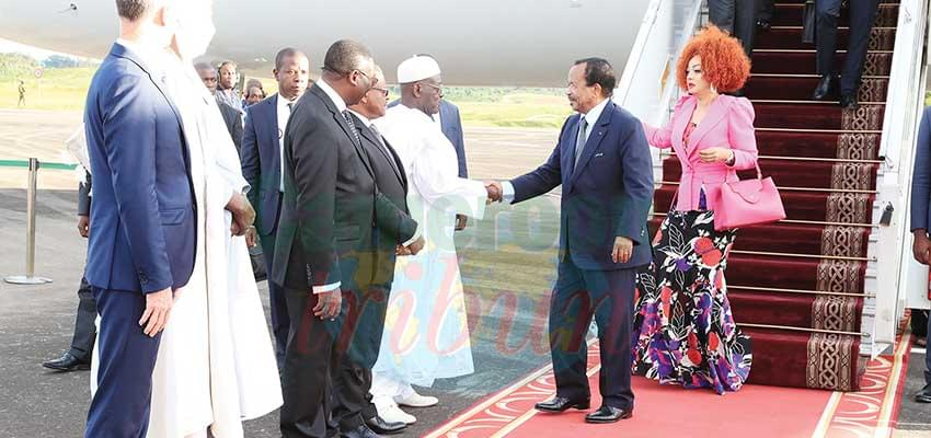 Hon. Cavaye Yeguie Djibril was the first to shake hands with the Presidential couple.