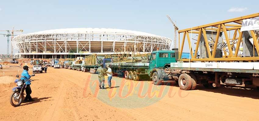The new equipment arrived at the Olembe construction yesterday