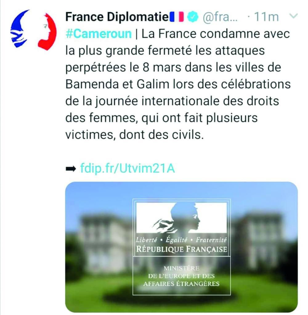 Actes terroristes à Bamenda et Galim : la France condamne