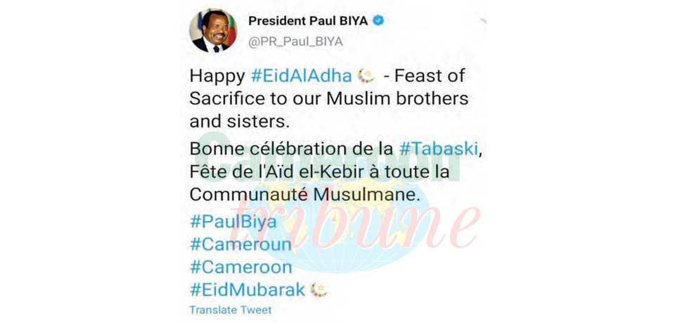 Feast Of Sacrifice : President Paul Biya's Happy Wishes