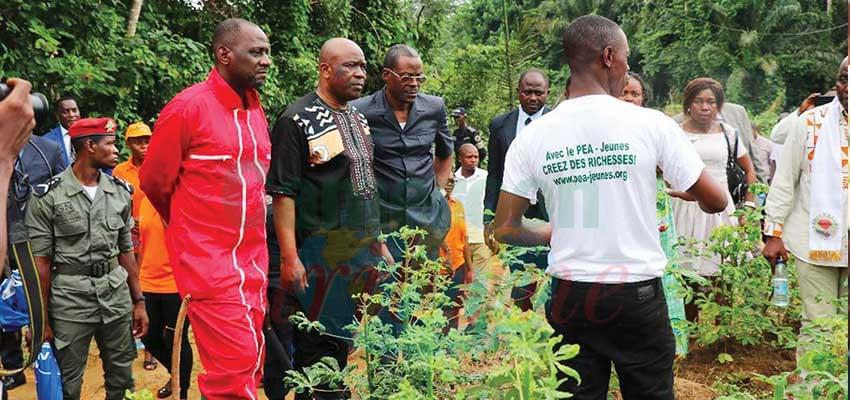 Le préfet de l'Océan et le DG du PAK visitant les réalisations des jeunes agriculteurs.