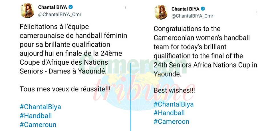 CAN de handball dames : la première dame félicite les Lionnes
