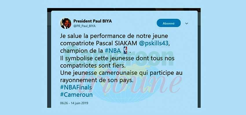 Finale de la NBA: Paul Biya félicite Pascal Siakam