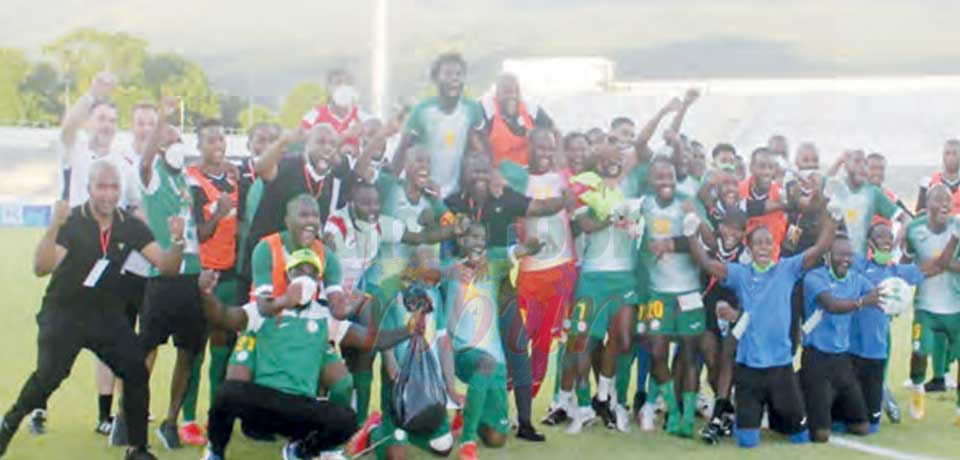 Comoros celebrating after their victory.