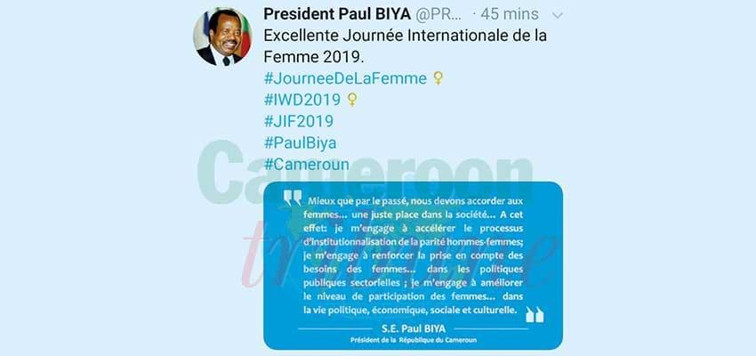 34e journée internationale de la femme: Paul Biya, de tout cœur
