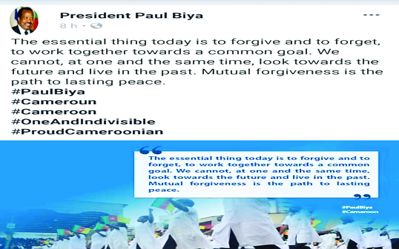 President Paul Biya Calls For Mutual Forgiveness