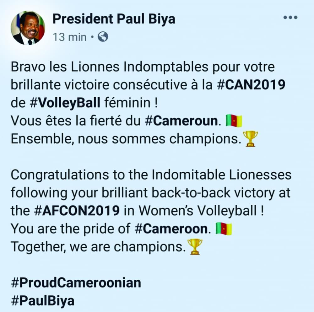 Paul Biya félicite les Lionnes
