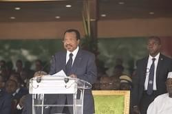 Image : President Paul Biya speaking during the graduation ceremony.