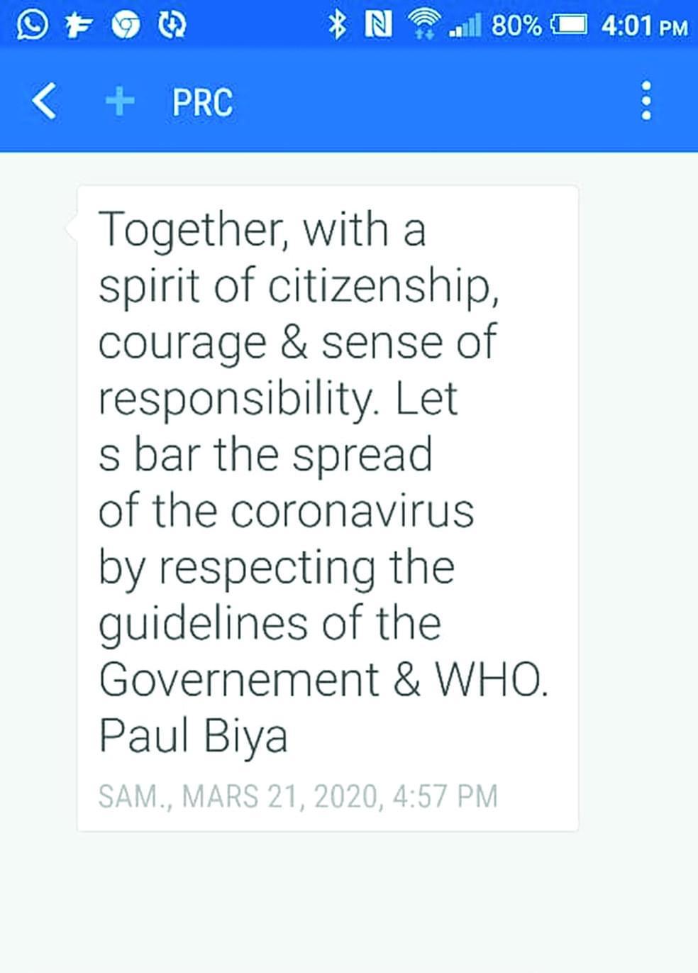 Lutte contre le coronavirus : Paul Biya poursuit la sensibilisation