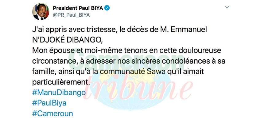 Manu Dibango : l'hommage du président de la République