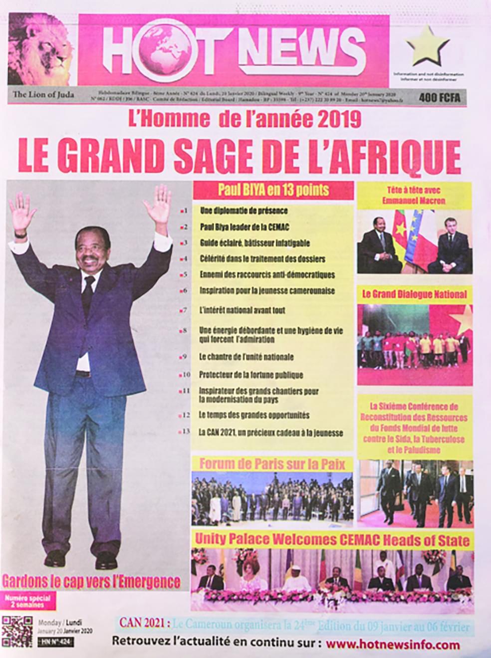 HotNews : Paul Biya désigné homme de l'année 2019
