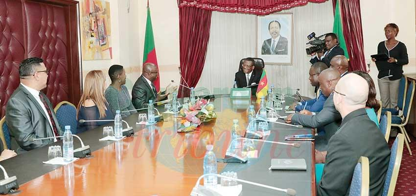 Prime Minister Joseph Dion Ngute receiving the Lead Mission International officials.