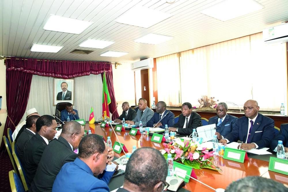 Prime Minister Joseph Dion Ngute chairing the July 2019 cabinet meeting.
