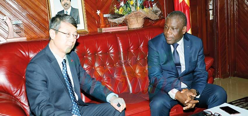 Minister Mbairobe and his guest discuss cooperation, Yaounde, June 4, 2019.