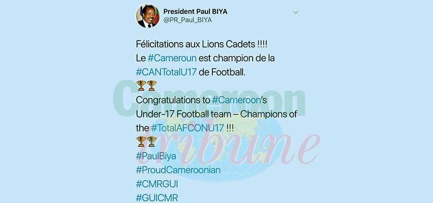 Paul Biya félicite les U17