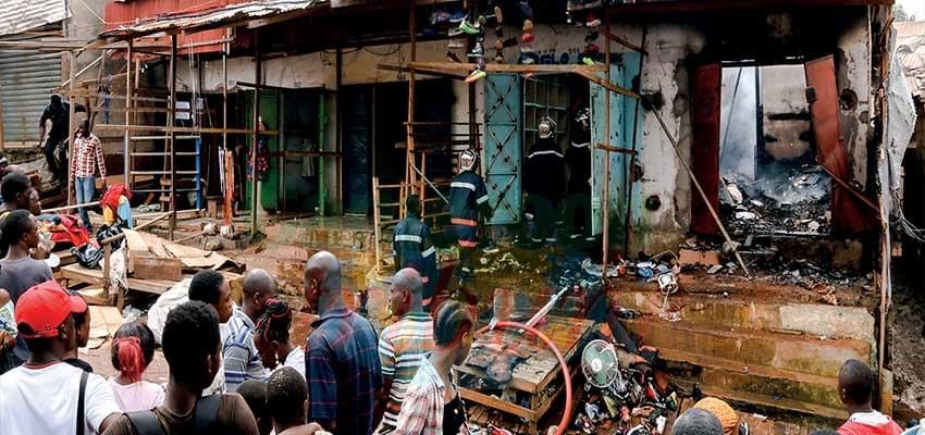 Yaoundé: Des flammes au marché Mvog-Mbi