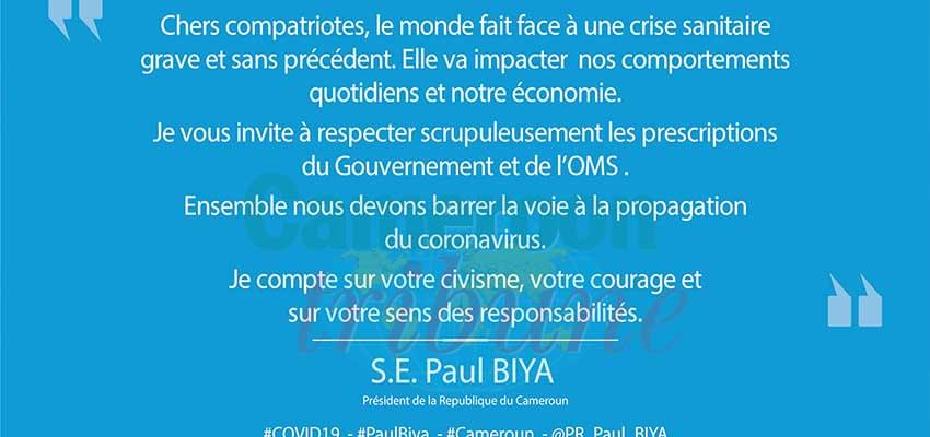 Coronavirus : le message de Paul Biya