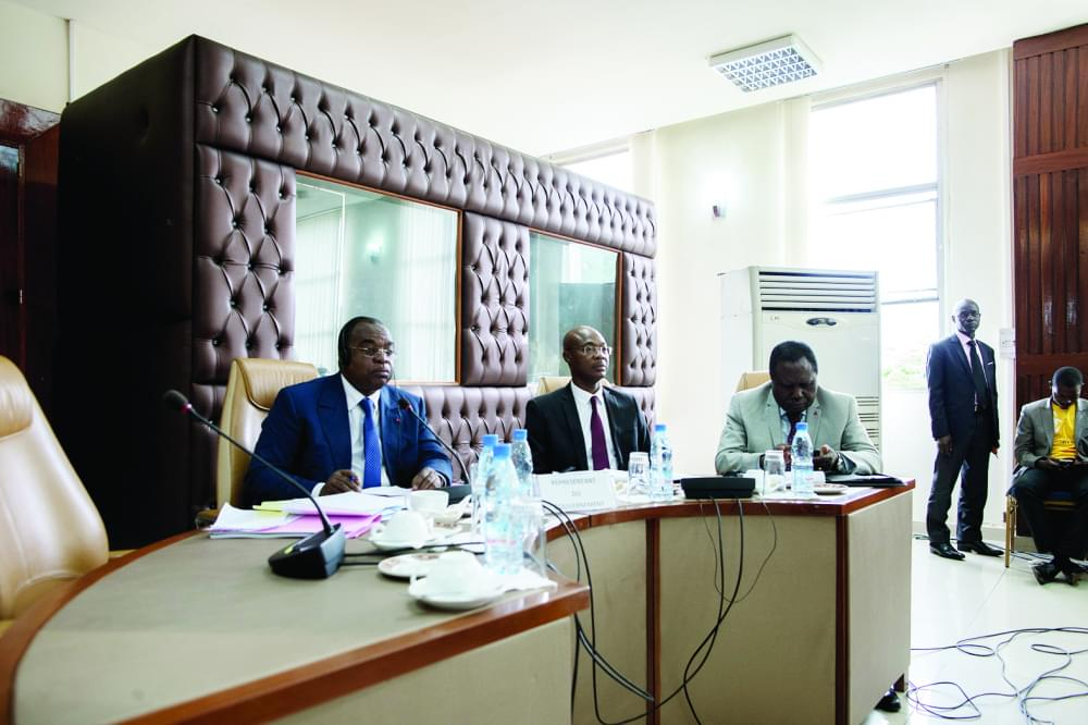 Minister Louis Paul Motaze (L) before the Finance and Budget Committee of the National Assembly.